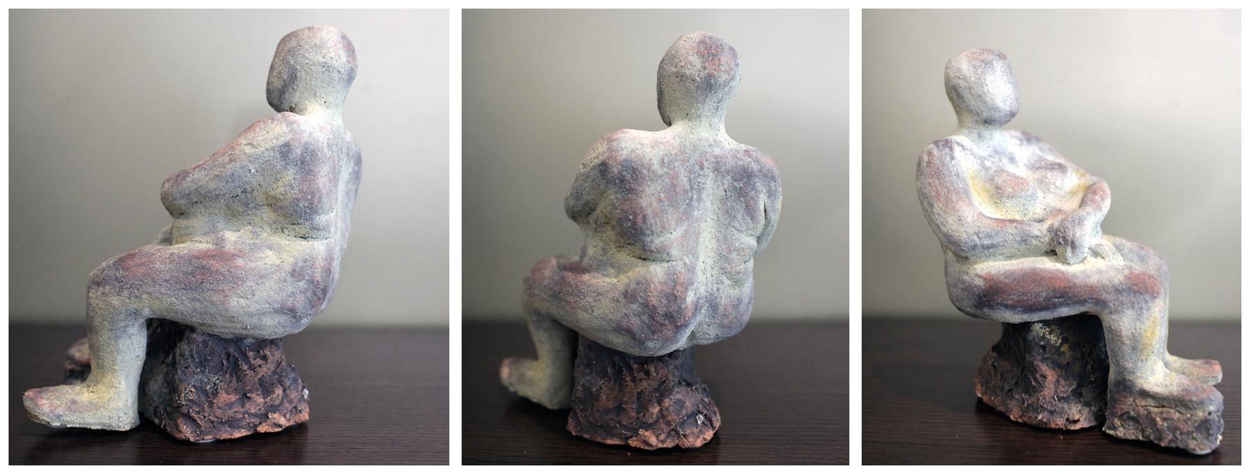 Karen Tabak Artist - Pondering 160w x 200d x 270h. Ceramic clay, fired.