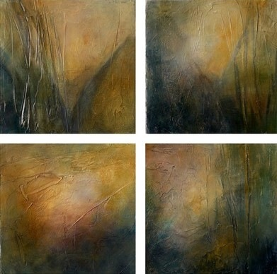 Karen Tabak Artist - Blues 4 x (230 x 230mm) Set of 4. Acrylic & oil glaze on canvas.