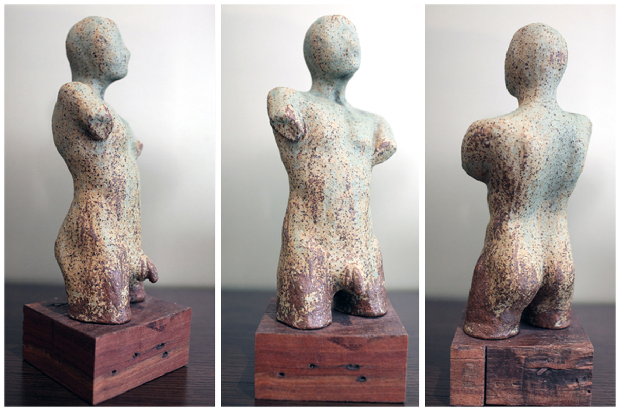 Karen Tabak Artist - Torso 140w x 120d x 350h. Ceramic clay, fired on Timber base.
