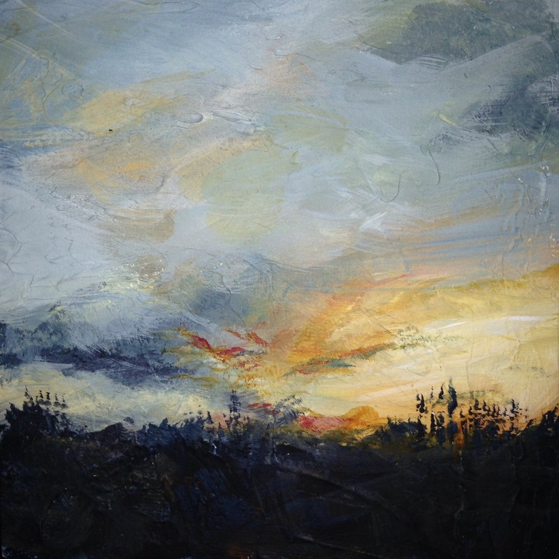 Karen Tabak Artist - Soul Sky #1 (300 x 300mm) Acrylic on canvas. SOLD