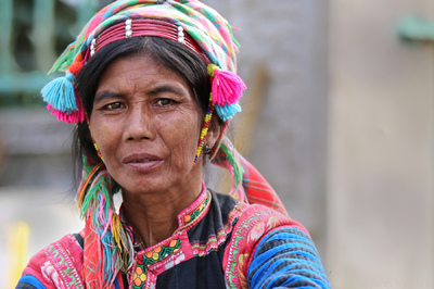 face of vietnam - La Hu ethnic lady, Muong Te street market, Lai Chau