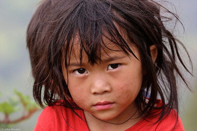 face of vietnam - Girl by the roadside between Ma Le and Lung Cu, Ha Giang