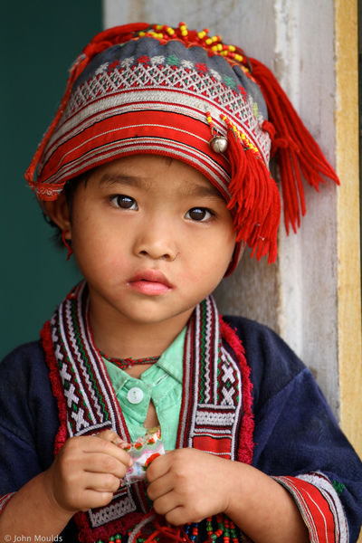 face of vietnam - Red Dao girl in traditional dress in Chu Thuong Preschool, Ha Giang
