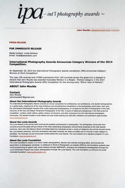 face of vietnam - The Press Release from the IPA contest 2014