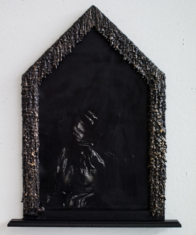 Broken Sundowns - Radiance to Imminence (2015) from the Eight Stages of Dissolution series. Photograph with handmade frame embellished with shells.