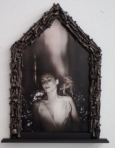 Broken Sundowns - Imminence to Translucency. (2015) from the Eight Stages of Dissolution series. Photograph with handmade frame embellished with bones.