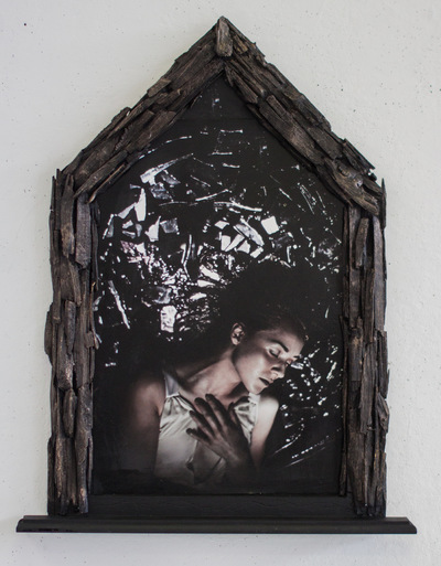 Broken Sundowns - Space to Luminance (2015) from the Eight Stages of Dissolution series. Photograph with handmade frame embellished with wood.