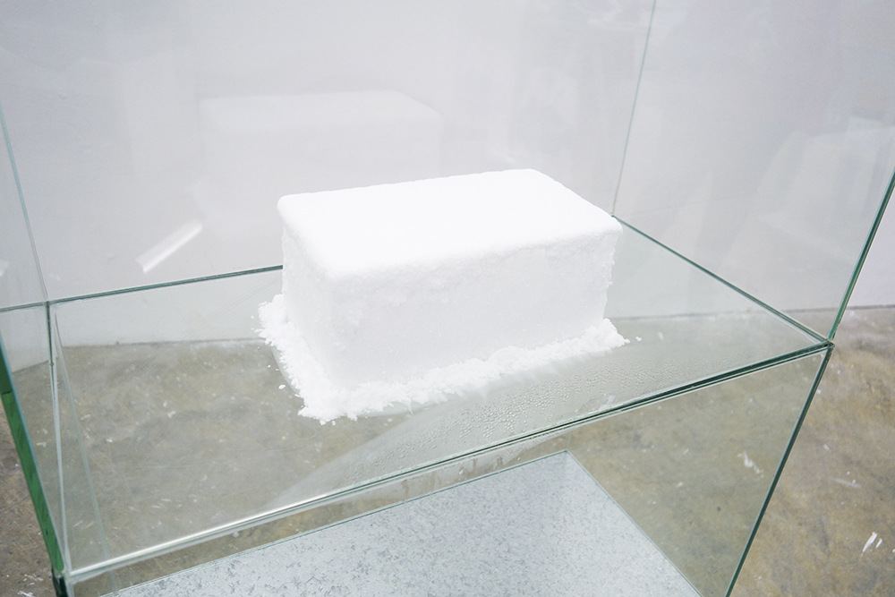 Cameron Rey - TMA-2, 2014. (Detail). Galvanized Steel. Glass Tanks. Dry Ice. Crystalized Moisture. Sound: Melting Ice.