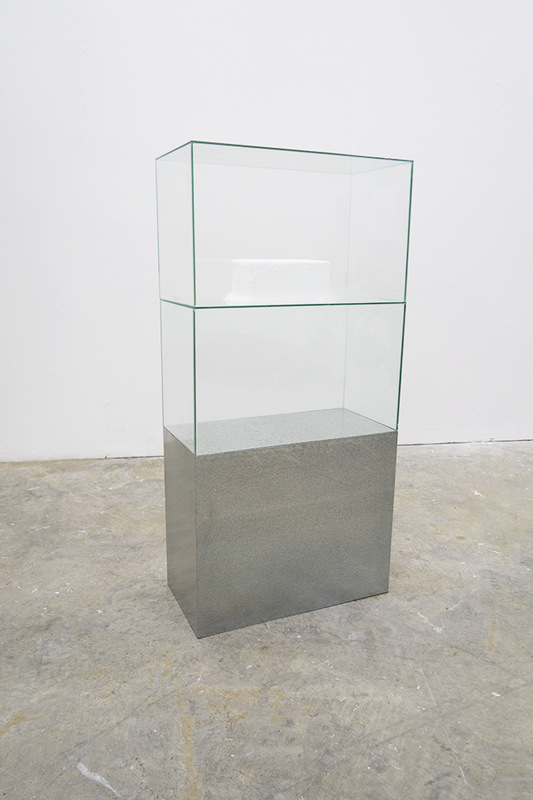 Cameron Rey - TMA-2, 2014. Galvanized Steel. Glass Tanks. Dry Ice. Crystalized Moisture. Sound: Melting Ice. 1500 x 600.