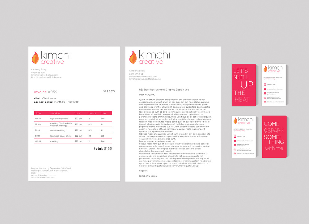 Kimberly Errey - Invoice, Letterhead and Business Cards