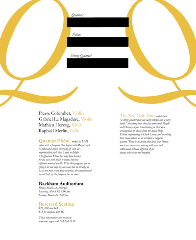 The Other Side of Perfect - Quatuor Ébène, Handbill, Design 2, Typography, December 2015
