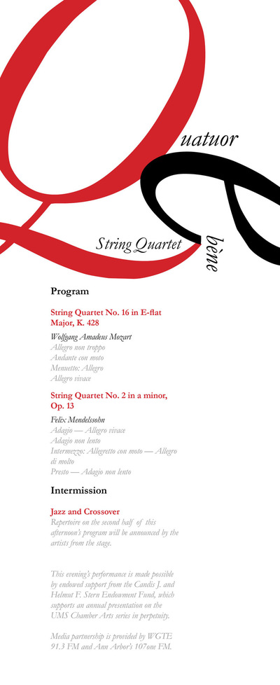 The Other Side of Perfect - Quatuor Ébène, Program, Typography, Design 3, December 2015