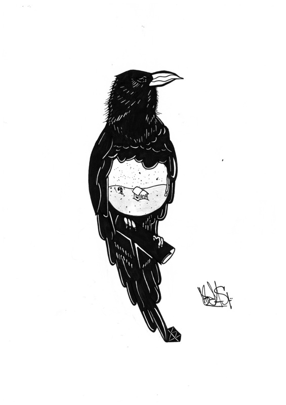 Art by Beast - Negative Space Raven