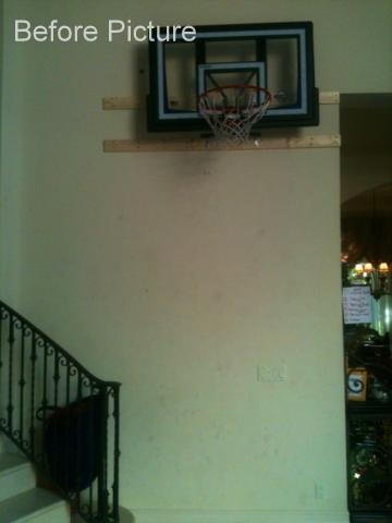 Bespoke Art by Liisa Garceau - A most loving husband installed a basketball hoop into the living room and the wall was starting to look scuffed up from frequent use.
