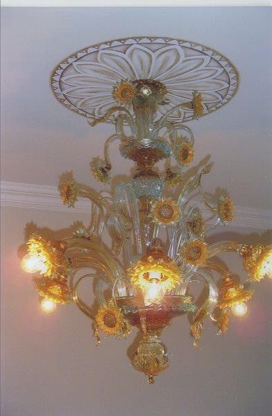 Bespoke Art by Liisa Garceau - I customised the hand painted medallion to match and help enhance the look of the Italian glass chandelier.