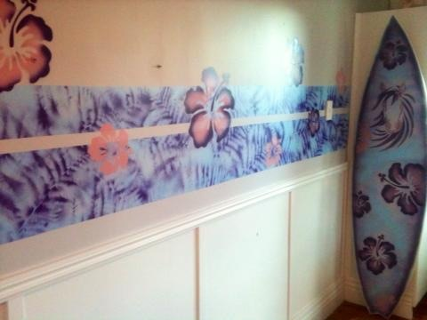 Bespoke Art by Liisa Garceau - I also used the flower stencils from the surf board onto the walls.