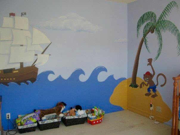 Bespoke Art by Liisa Garceau - A pirate themed room for a 3 year old boys room. Hand painted with acrylic.
