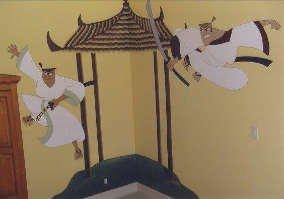 Bespoke Art by Liisa Garceau - This mural was painted for a 10 year old boys room. He absolutely loves kung fu, so as a surprised I was hired to redo his room in this theme.