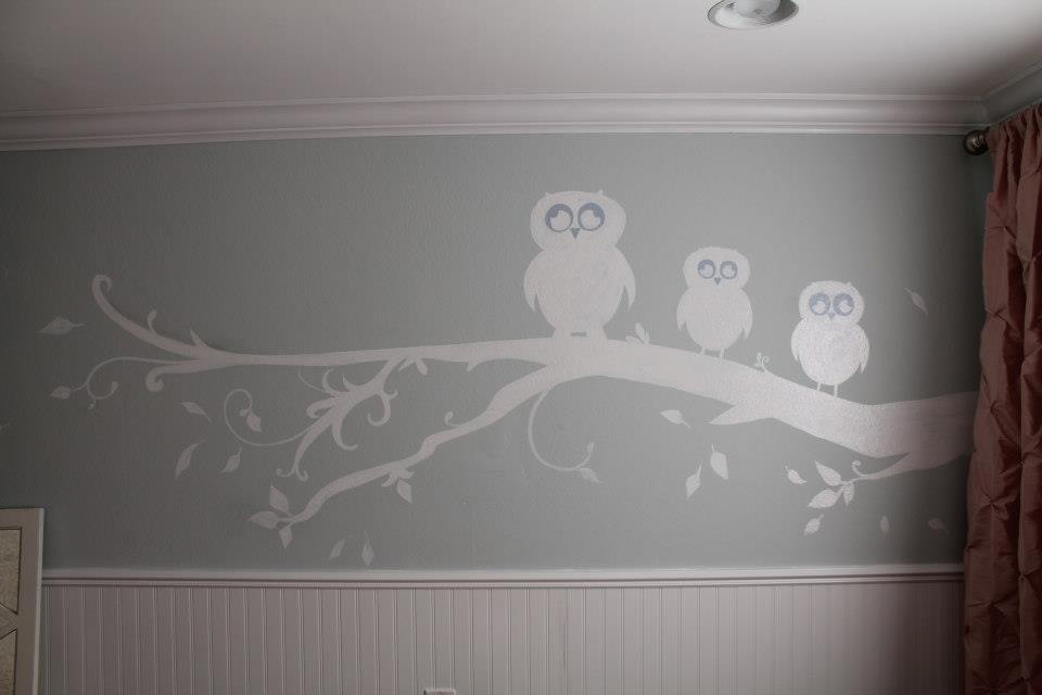 Bespoke Art by Liisa Garceau - A mother and her twin girls on a tree branch My client, a single mother, wanted to have an image that fit into the Victorian style room, and has owls in it.